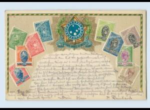 L740/ Briefmarken Litho Prägedr. AK Brasilien 1908