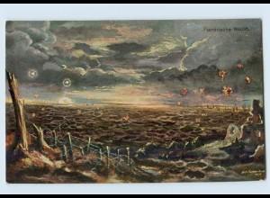 K802/ Belgien Flandrische Nacht 1. Weltkrieg Künstler AK 1917