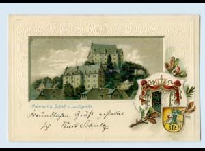 L064-3550/ Marburg schöne Litho Prägedr. Wappen AK 1900
