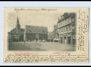 L130-064./ Gruß aus Quedlinburg Marktplatz Rathaus AK 1901