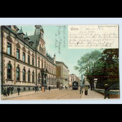 L128-075./ Gera Hauptpostamt Straßenbahn AK 1903