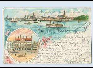 L126-180./ Gruß aus Rostock schöne Litho AK 1898