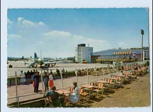 L387/ Flughafen Hannover Flugzeug AK 1960