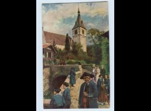 X1L97/ Sonntag im Schwarzwald Kirche in Bad Liebenzell AK ca.1912