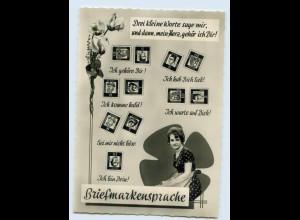 L608/ Briefmarken-Sprache schöne AK ca.1960