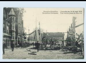 X1R52/ Brüssel Bruxelles-Exposition Kermesse Feuer-Katastrophe AK