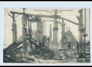 X1R54/ Brüssel Bruxelles-Exposition Kermesse Feuer-Katastrophe AK
