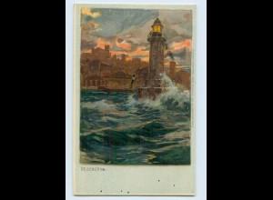 L877/ Desenzano Leuchtturm Zeno-Diemer Litho AK ca.1900 Italien
