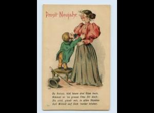 X1R58/ Neujahr Humor Litho AK kleiner Mann , große Frau ca.1900