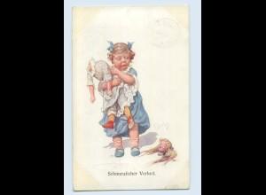 X1R68/ K. Feiertag AK Mädchen mit kaputter Puppe 1912