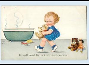 X1R67/ John Wills Künstler AK Mädchen badet Hund und Puppe AK 1936