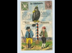 L912/ Das Ende der bayrischen + württ. Briefmarken Litho AK Adler Michel