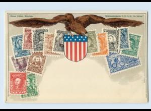 L974/ Briefmarken USA Litho Prägedruck AK ca.1900