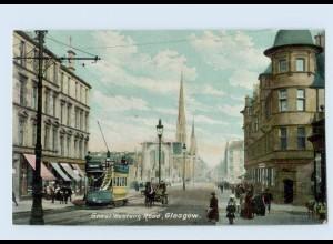 L955/ Glasgow Great Western Road Tram Straßenbahn AK Schottland ca.1910