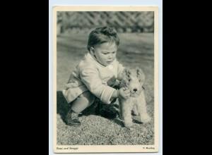 X1R77/ Kind mit Stofftier Hund schöne AK ca.1955