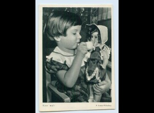X1R75/ Mädchen mit Puppe Karte aus Flechsig-Bildkalender AK ca.1960