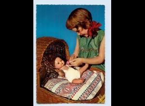 X1R74/ Mädchen mit Puppe schöne AK Verlag: Krüger ca.1965