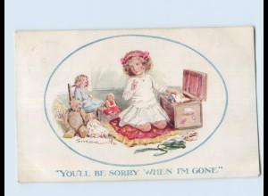 X1R71/ Mädchen mit Puppen und Teddy Künstler AK 1912