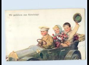 L977/ K. Feiertag AK Geburtstag Kinder fahren Auto 1911