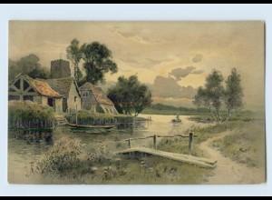 """M393/ Meissner & Buch """"Freude und Friede"""" Landschaft Litho AK ca.1905"""