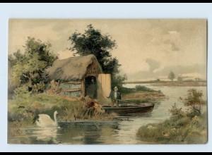 """M386/ Meissner & Buch """"Auf lichten Pfaden"""" Litho AK Landschaft ca.1900"""