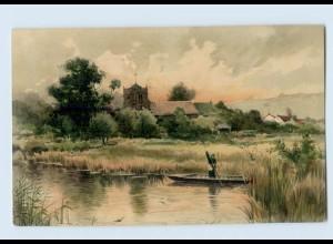 """M383/ Meissner & Buch """"Auf lichten Pfaden"""" Litho AK Landschaft ca.1900"""