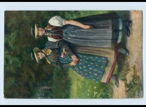 Y761/ Mädchen aus dem Prechtal Schwarzwaldtrachten AK Verlag: König ca.1912