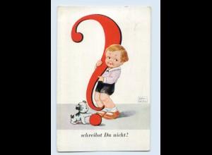 X1T19/ John Wills Kind mit Fragezeichen und Hund Künstler AK 1932