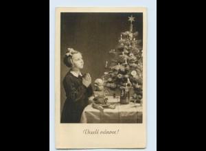 Y046/ Weihnachten Mädchen betet Puppe Vesele vanoce! AK 1942