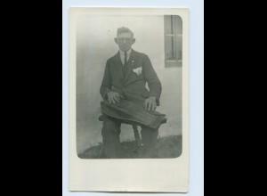 M368/ Mann spielt Zither Privat Foto AK ca.1930