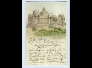 M358/ Halt gegen Licht Gruß ausa Berlin Reichstag Litho AK 1898