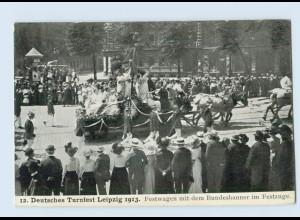 M381/ Leipzig 12. Deutsches Turnfest Festwagen AK 1913