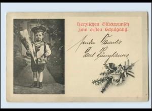 Y592/ Einschulung Kind mit Schultüte Matrosenuniform AK 1921