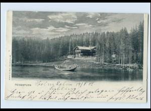 N010/ Peisestuen in Norwegen, Ansicht mit Ruderboot AK 1902