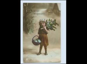 X1V14/ Weihnachten Mädchen mit Tannenbaum Foto AK 1912