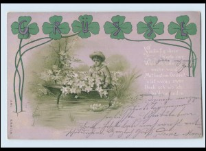 Y591/ Grußkarte Spruch Kleeblatt Litho AK 1899