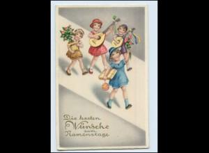 Y220/ Namenstag Kinder mit Gitarre schöne Litho AK 1939