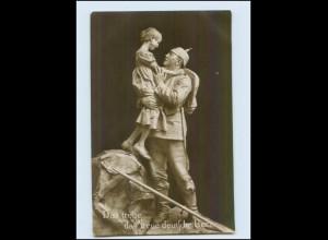 Y290/ Skulptur Das treue... das treue deutsche Herz Soldat und Kind WK1 Foto AK