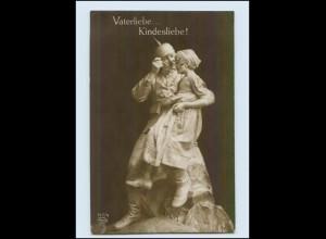 Y292/ Skulptur Vaterliebe... Kindesliebe! Soldat und Kind WK1 Foto AK 1916