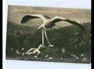 N691/ Geburt Storch und Baby schöne Foto AK 1932
