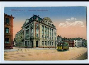N393/ Mülhausen Elsaß Sparkasse Straßenbahn AK 1915