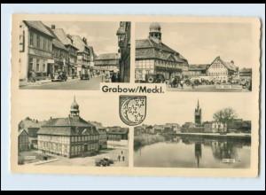 N481-193./ Grabow/Mecklenburg Elde Rathaus Stalinstraße AK 1961