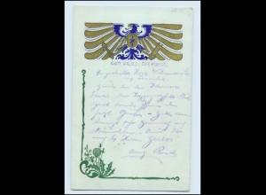 Y382/ Künstler AK Jugendstil Wappen Golddr. 1909