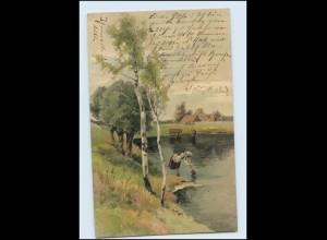 "Y345/ Meissner & Buch Litho AK ""Vom Lebenswege"" Landschaft 1905"