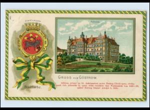 N531-182./ Gruß aus Güstrow Schloß Wappen Litho AK 1909