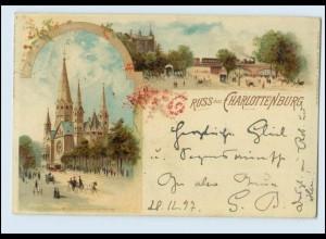 N665/ Berlin Gruß aus Charlottenburg 1897 Litho AK