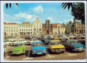 Y398/ Wismar Markt Autos Wartburg Trabbi AK Bild und Heimat