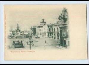 N1037/ Valparaiso Plaza Sotomayor Straßenbahn Tram Chile AK ca.1900