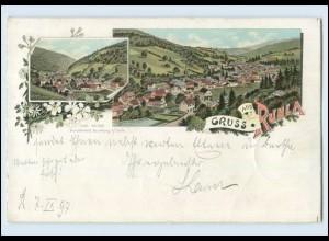 N1036-958./ Gruss aus Ruhla Panorama Litho AK 1897