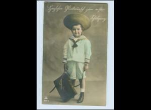 Y507/ Einschulung mit Schulranzen Foto AK 1910